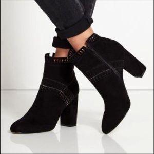 Black Laser Cut Faux Suede Ankle Boots Sz 9